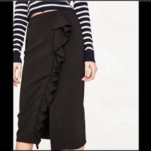 Zara Ruffled Pencil Midi Skirt XL